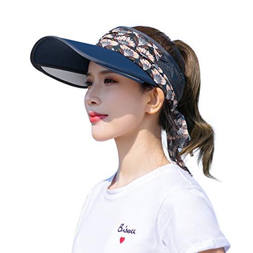 Afinder visiera estiva da donna con orlo scalabile ampia protezione solare UV berretto da baseball cappello da pescatore con fiocco per caccia campeggio corsa jogging spiaggia