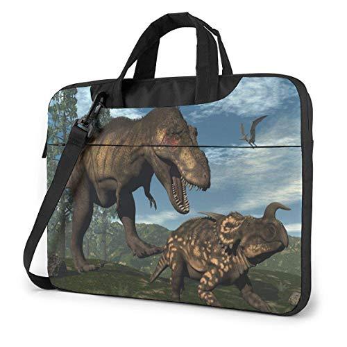 Lsjuee Dinosaurs in The Forest Estuche para computadora portátil Bolsa de Hombro para computadora portátil 13 14 15.6 Pulgadas, Estuche Multifuncional con Funda para computadora portátil con Correa