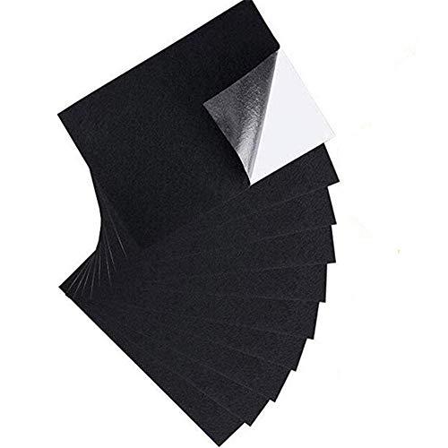 LQKYWNA 10 Piezas de Hojas de Adhesivo de Tela de Fieltro Negro A4, Hojas Impermeables Autoadhesivas para Manualidades, Forro de joyero, Almohadillas Protectoras de Muebles