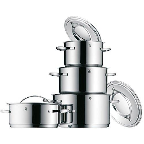 WMF Gala Plus Topfset Induktion 4-teilig, Kochtopf Set mit Metalldeckel, Cromargan Edelstahl poliert, Induktion Töpfe Set unbeschichtet