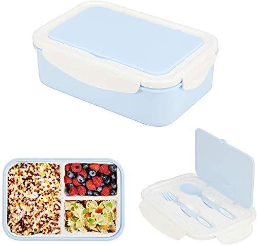 Schiscetta Pranzo,Lunch Box con 3 Scomparti e Posate,Porta Pranzo Ermetico,Bento box con posate,Bento Box Portatile,Portapranzo,Scatole bento,Lunch Box Contenitore,Pranzo Bento Senza BPA (blu)