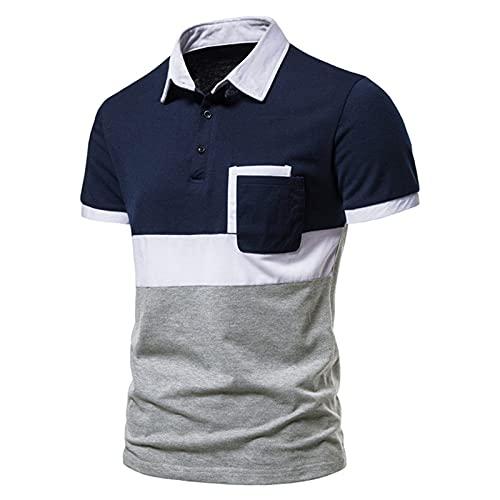 D-Rings Camiseta de verano para hombre con costuras tricolor y solapas, de manga corta, informal, corte clásico, de algodón., azul marino, XXL