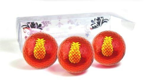 NAVIKA Golfbälle rot metallic mit Ananas Aufdruck