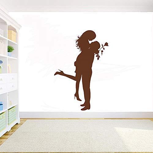 Romantische Knuffel Muur Vinyl Applique Paar Liefde Valentijnsdag Romantische Rose Slaapkamer Muursticker Verwijderbare Art Deco 84x57cm