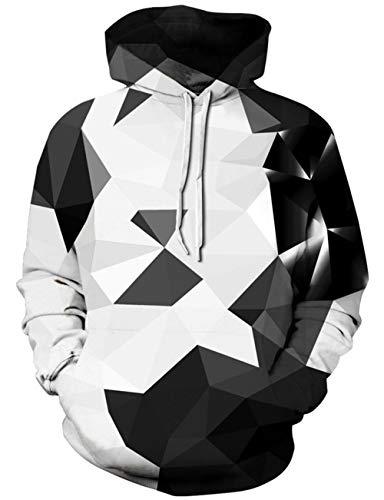 Loveternal Unisex 3D Kapuzenpullover Print Geometric Hoodie Pullover Langarmshirts Leichte Sweatshirts mit Taschen L