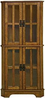 BOWERY HILL 4 Shelf Corner Curio Cabinet in Golden Brown