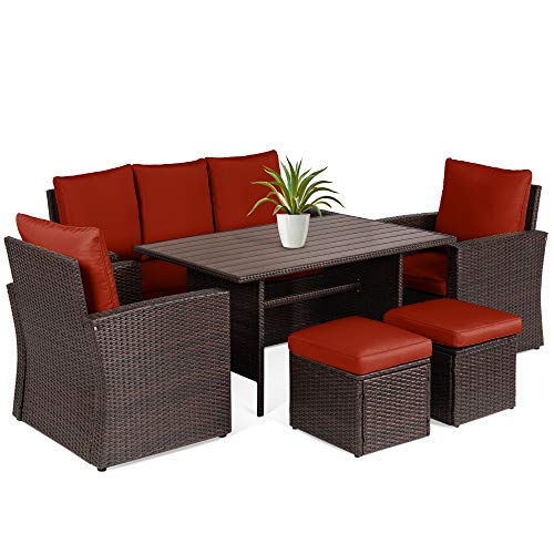 Best Choice Products 7-Seater Conversation Wicker Sofa Dining Table,...