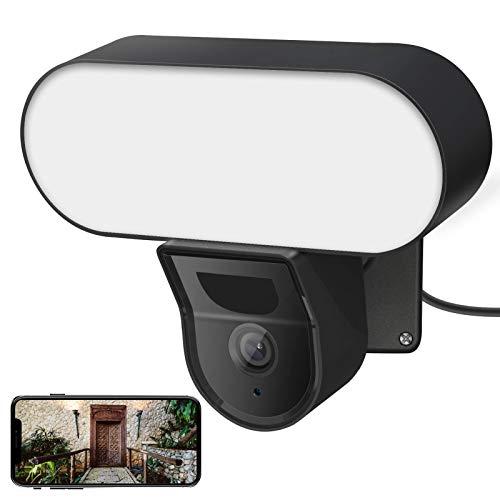 VOLADOR Sicherheitslichter 3000 Lumen Floodlight Cam Aussenleuchte mit 2 Millionen HD-Auflösung Kamera LED Strahler mit Bewegungsmelder Sicherheitskamera, Flutlicht, Gegensprechfunktion und Sirene