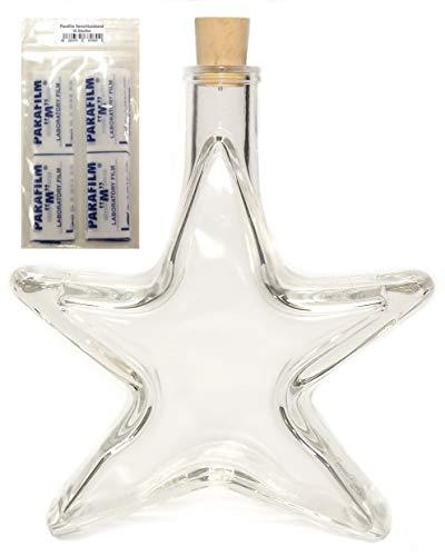 5 x Stern Flasche Likör Weihnachts Flasche leer 0,2 L inkl. Parafilm & Korken VERSAND INNERHALB 24 STD!