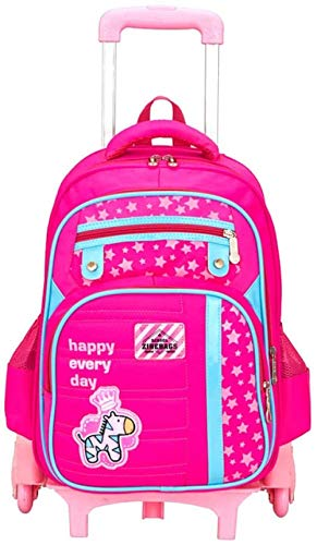 B/H Girls Boys Wheeled Bookbag,6-wheel drag school bag, roller trolley backpack-Red,Unisex Kids Trolley Rolling Backpack