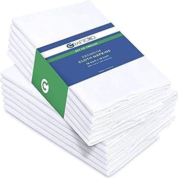 CraftoXo Premium Quality White Cloth Napkins – White Dinner Napkins Cloth Set of 12 - Reusable   Super Soft Thanksgiving Napkins Everyday use   18x18 inches servilletas de Tela para mesa