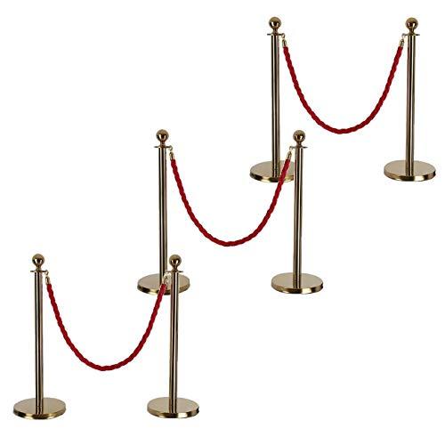 FlowerW 1 Set Retractable Gold Round Top Stanchion Post Queue Crowd Control Barrier Posts Line Pole with 1.5M Black 2 Velvet Rope