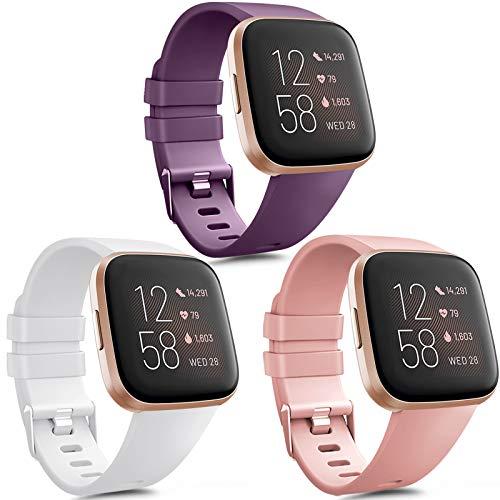 Vancle 3 Pack Kompatibel für Fitbit Versa Armband/Fitbit Versa 2 Armband, Klassisch Weiches TPU Sports Verstellbares Ersatz Armbänder für Fitbit Versa/Versa 2/Versa Lite (Weiß/Rosa/Lila, S)