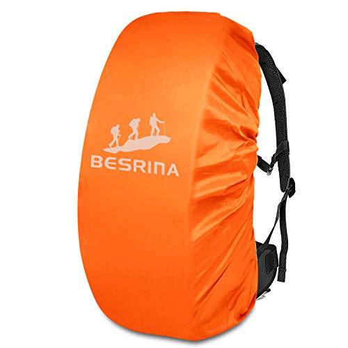 Besrina Housse de pluie pour sac à dos (15–90 l), sangle croisée antidérapante et réfléchissante imperméable pour randonnée, camping, voyage, cyclisme, Orange (Orange) - BACK-COV-14