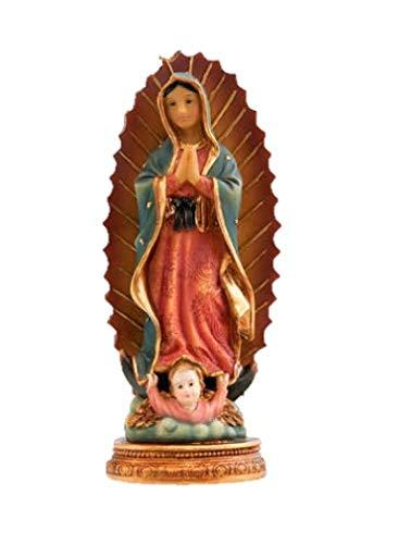 DRW Virgen de Guadalupe Infantil de Resina de 11 cm con Caja de PVC con la Historia