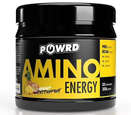 POWRD® AMINO ENERGY - EAA Pre Workout Booster Energy Drink Pulver mit Beta Alanin, Vitamin C, Koffein, Aminosäuren, BCAA, 320g 35 Portionen, Ananas Passionfruit