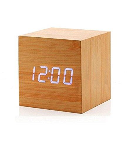 Philna12 Kreatives Thermometer, Bambus, Holz, USB, Klangsteuerung, Holzwürfel
