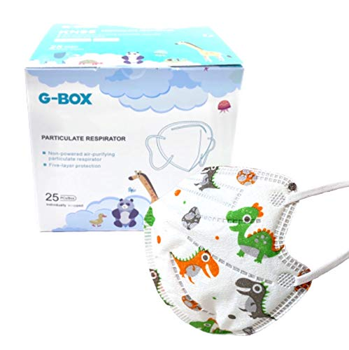 G-Box Children's 5-Layer Disposable Particulate Respirators (25-pcs, Individually Wrapped) (White Dino Family)