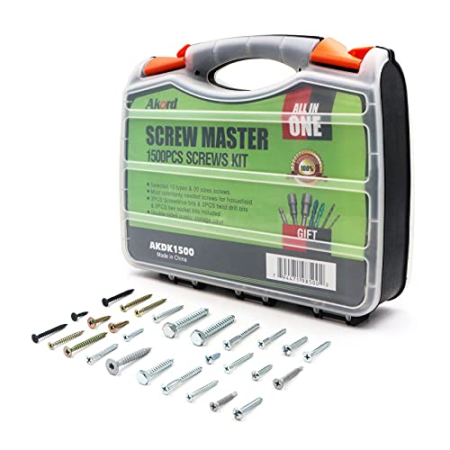Akord Screws Assortment Kit, 10 Types Popular Screws Set in 30 Size, Double-Sided Storage Box, 1500 Pieces