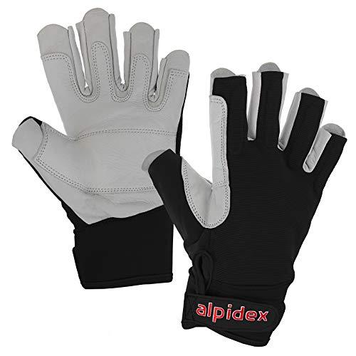 ALPIDEX Klettersteig-Handschuhe Black BOA Unisex Echtleder, Größe:S