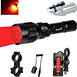 """WINDFIRE WF-802 Tactical Flashlight Waterproof 350 Lumens 250 Yard Long Range Throwing RED LED Coyote Hog Hunting Light Lamp Torch with Pressure Switch & 1"""" Scope Mount & 18650 Battery and Charger"""
