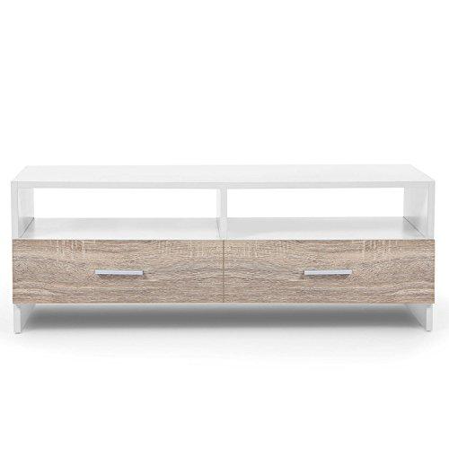 IDMarket - Meuble TV FALKO bois blanc et imitation hêtre