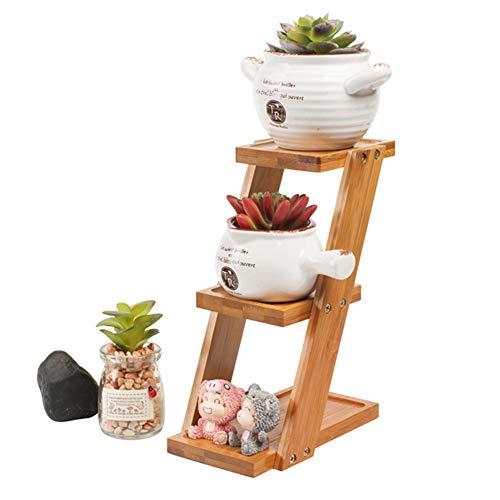 NIBESSER Blumentreppe aus Holz, Blumenständer für innen, 3-stufig, Leiterregal, Klappbar, HBT: ca. 30 * 10 * 4cm, braun