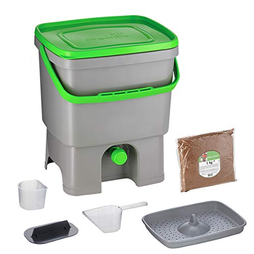 Skaza Bokashi Organko (16 L) Compostador de Jardín y Cocina de Plástico Reciclado | Starter Set con Bokashi Organko Polvo 1 Kg. (Gris-Verde)