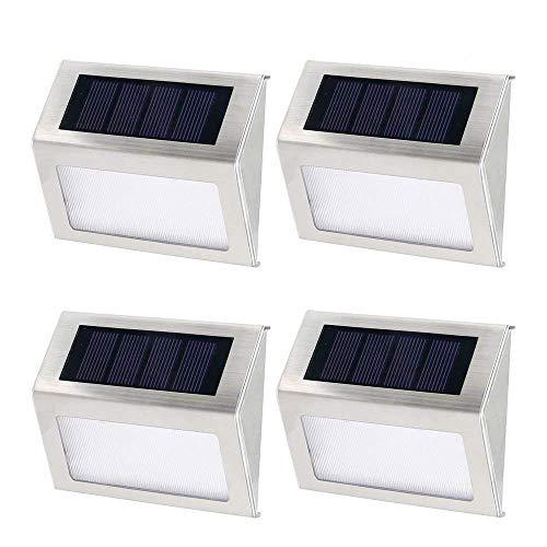 4 Stk 3 LEDs Solarleuchte,Solarleuchten Garten,Solar led Außenleuchte,Gartenleuchte,Wandleuchte,Treppenbeleuchtung,für Haus,Zaun,Garten,Garage,Schuppen,Treppe,Garten Deko usw