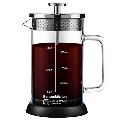 French Press Coffee Maker 20oz, 304 Stainless Steel Coffee Press with 4 Filter Screens,Heat Resistant Borosilicate Glass Coffee Pot Percolator,Single Serving Coffee Maker (Silver)