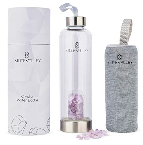 STONEVALLEY Crystal Water Bottle - Natural Rose Quartz and Amethyst for Infused Healing - Includes Removable Gemstones and Protective Sleeve