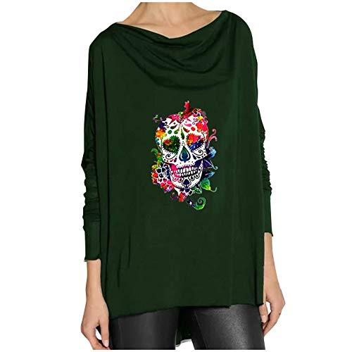 Wenese 2020 Weihnachtspullover Damen Weihnachtsfrauen O-Ausschnitt Brief gedruckt Plaid Langarm Weihnachten Weihnachtspullis Langarm Druck Sweater T-Shirt Bluse Top