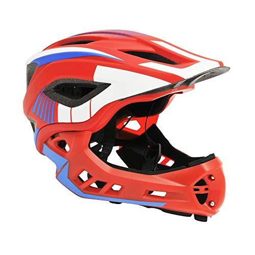Motodak Casque Velo BMX Integral ikon Rouge-Bleu-Blanc avec mentonniere Detachable (Taille 53-58cm) (Vendu en Boite) - Conforme en078