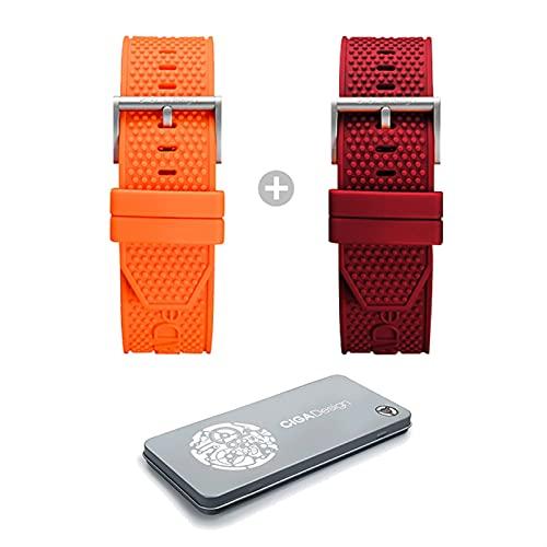 WWXFCA Diseño de Hombres Silicone Watch Band 22mm Reloj Accesorios de Correa de Relojes Multicolor Banda de Relojes Pulsera de reemplazo CIGA Reloj Series Z