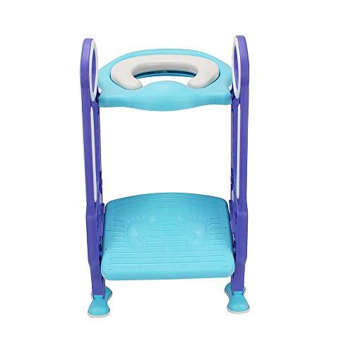 RANZIX 3 in 1 Töpfchentrainer Toilettensitz für Kinder Toilettentrainer Lerntöpfchen mit Treppe Armlehnen PU Gepolstert Rutschfest Höhenverstellbar