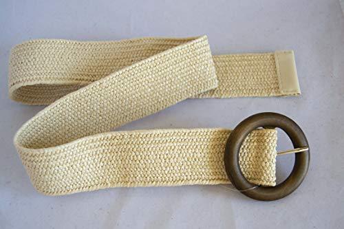 Cinturón de rafia claro con hebilla de madera. Envío GRATIS 72h