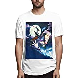 Blue Exorcist Men's Comfortable Short Sleeve Shirts Crew Neck Fashion T-Shirt Summer Black Camisetas y Tops(XX-Large)