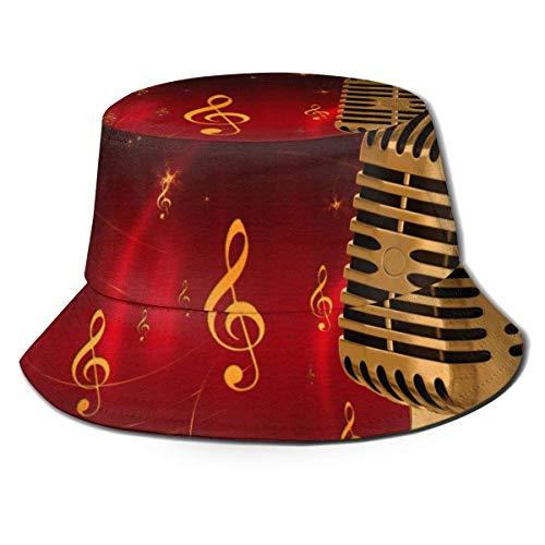 Shichangwei Golden Microphone Musical Unisex Sombrero de pescador para exteriores
