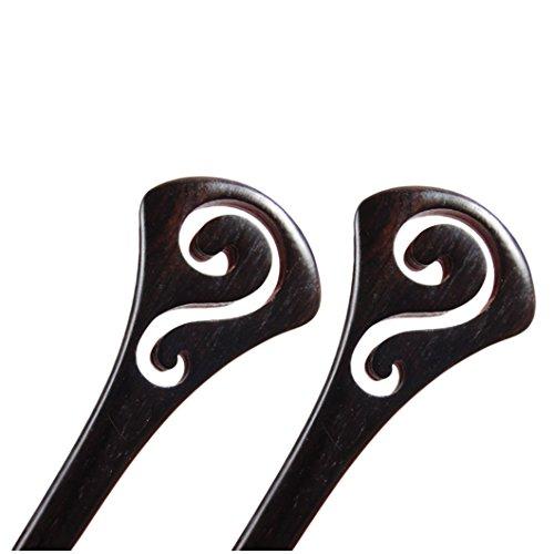 BOCHION 2 Pièces TaiChi En Forme En Épingle À Cheveux Antique À La Main Sculpté Ébène Bois Bâton De Cheveux Chinois Style Cheveux Accessoires (2 pièces Tai Chi)