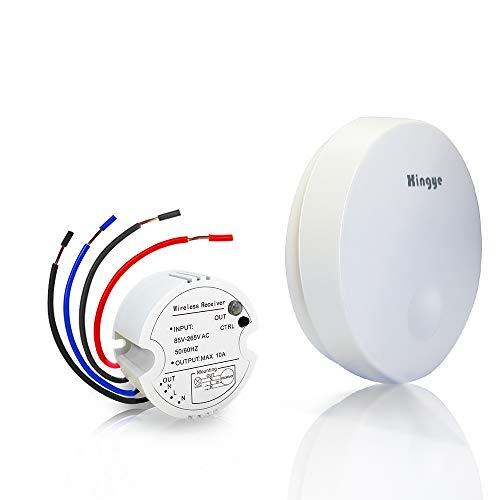 Xingye Kabelloses Lichtschalter Set,keine Batterie, keine Kabel erforderlich, Thinkbee 1 Taste Funkschalter mit Empfänger Wasserdichter Fernbedienung bis zu 150m, Kontrollierte Geräte bis 1500W