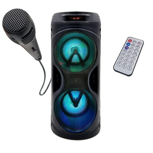 Altavoz de Suelo Portátil PBSL-141 | Sintonizador Radio FM, Batería Interna de 1200mah, Potente Altavoz 10W, Bluetooth, Puerto USB, Mando a Distancia, Modo Karaoke (Micrófono Incluido)