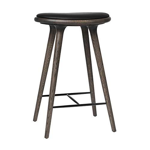 Miadomodo - Taburete de bar (madera de roble, 69 x 45 x 69 x 36 cm), color gris y negro