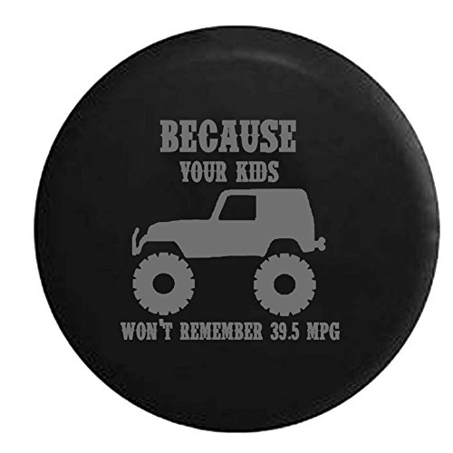 American Educational Products Stealth - Lifted Because Your Kids Won't Remember 39.5 MPG Spare Tire Cover Fits: SUVs RV and Camper Spare Tire Covers Black 35 in