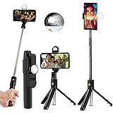Palo Selfie Trípode, 3 en 1 Selfie Stick Móvil Bluetooth con luz de Relleno y Control Remoto para Selfie, Video, Youtube, Ligero Rotación de 360° para iOS, Samsung Huawei Android - Negro