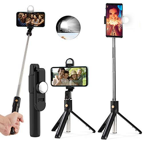 Palo Selfie Tripod, Extensible Selfie Stick Bluetooth con luz de Relleno y Control Remoto para Viaje Autofoto, Video, Youtube, Volg, Rotación 360 Grados para iPhone Samsung Huawei Xiaomi - Negro