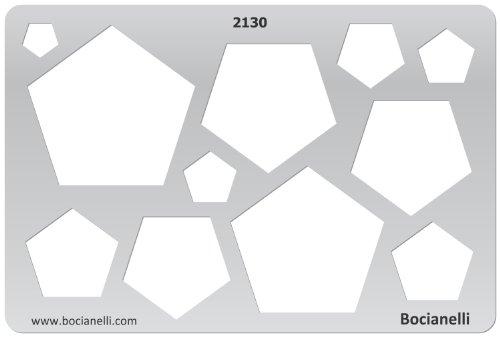 15cm x 10cm Zeichenschablone aus Transparentem Kunststoff für Grafik Design Kunst Handwerk Technisches Zeichnen Schmuckherstellung Schmuck Machen - Fünfeck Fünfecke Geometrische Figuren Symbole