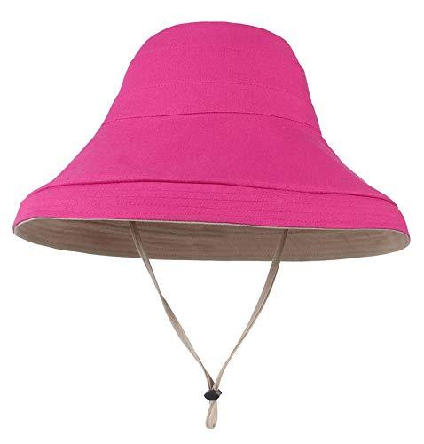 GEMVIE Sombrero de Sol Pescador para Mujer Verano Playa ala Ancha Grande Reversible Gorras de Pesca,Protector del Sol Unisex (Rosado)