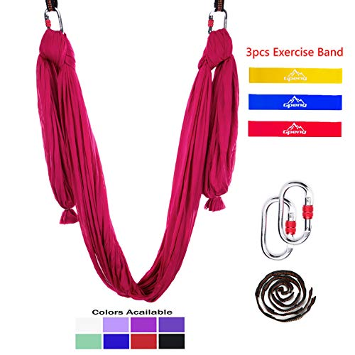 Gpeng Aerial Yoga Hammock Swing Set - Premium Aerial Silk for Antigravity, Inversion Exercises, Improved Flexibility & Core Strength