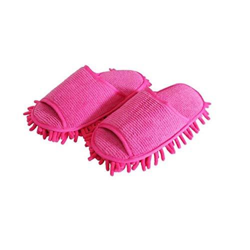1pair Mikrofaser Hausschuhe Unisex Haus Abstauben Slippers Mopphefterzufuhren Schuhe Bodendüse Rosy Dienstprogramme Praktisches Werkzeug
