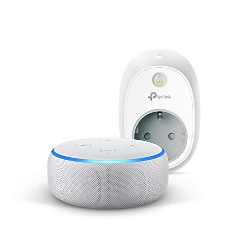 Echo Dot (3.ª generación), tela de color gris claro +TP-Link HS100 Enchufe inteligente, compatible con Alexa